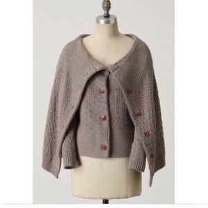 Anthropologie Wool Caped Cardigan Size Small Brown